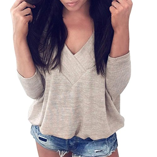 Sweatshirt Femmes Angelof Pull Femmes Fille V Cou Manches Longues Swag Jumper FemmesKaki Soldes Blouse Outerwear Chic Tops Pullover Shirt (S)