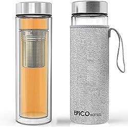 EPiCO BOTTLES Teekanne Glas - 400ml | Dopplewandige Glas-flasche mit Edelstahl Tee-sieb BPA Frei