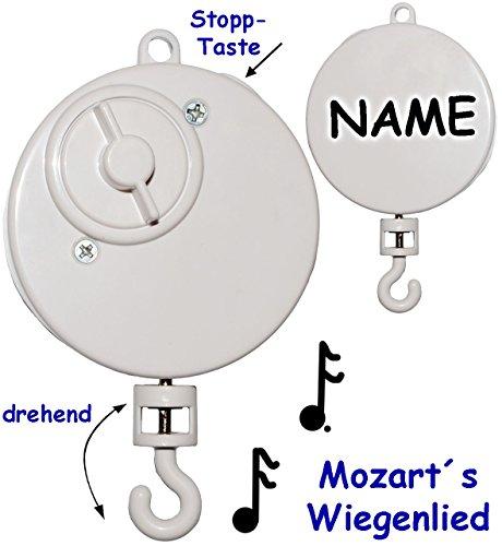 alles-meine.de GmbH 1 Stück _ Spieluhr -  Wolfgang Amadeus Mozart - Wiegenlied - Lullaby  - incl. Name - drehend & zum Aufhängen - Musikbox / Spielwerk - z.B. Mobile & Traumfän.. (B Mobile)