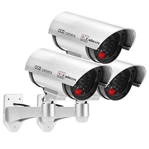 KKmoon Drahtlose Wasserdichte Dummy Kamera Überwachungskamer mit blinkendem rotem LED-Licht 3Stück (Ein Weg, Schraube-treiber)