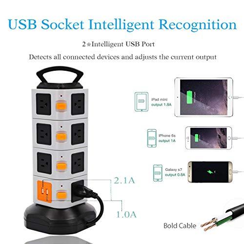 OCK Überspannungsschutz-Ladestation 2500W 10A 16AWG 15 Wechselstromausgänge 2 USB-Anschlüsse Mit 6,5-cm-Kabelverlängerungskabel Für Büro Und Zuhause ()