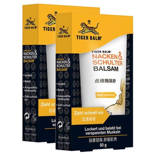 TIGER BALM Nacken & Schulter Balsam - Natürlicher Balsam bei Verspannungen im Nacken- & Schulterbereich - Pflegende Einreibung ideal für unterwegs - 2 x 50 g - Original Salbe Tube