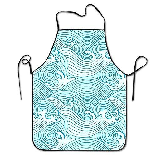 lbare Latzschürze mit Tasche, Seamless Waves Pattern in Ocean Colors Super Schürzes Personalized Printing Kitchen Schürze Cooking, Baking, Crafting, Gardening, BBQ ()