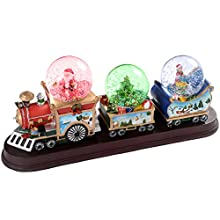 Santa Christmas Train with 3 Musical Animated Snow Globe Decoration - 34cm