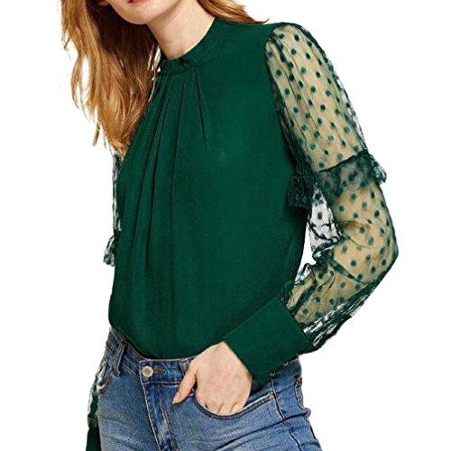 T-Shirt Femmes Toamen Blouse à manches longues épissée Dentelle Manches en maille plissée Mode (XL, vert)