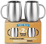 Die besten Isolierte Kaffeetasse mit Henkel - Edelstahl-Kaffee-Tasse mit Deckel, 2er-Set, Premium Doppelwandige Reise-Tassen, Bruchsicher Bewertungen