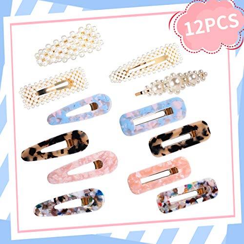 Jeteven 12x Haarspangen = 4x Perlenhaarspange + 8x Acryl Haarnadeln, Haarklammern für für Frauen Mädchen, Haar Snap Clips, Haarschmuck, 8 verschiedene Muster, 4 Formen, Ideal als Kindersgeschenk -
