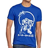 A.N.T. Samus Return Herren T-Shirt Nerd Gamer NES SNES Geek, Größe:M;Farbe:Blau