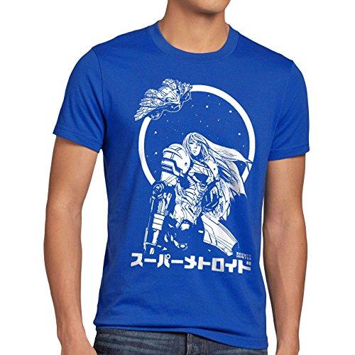A.N.T. Samus Return Herren T-Shirt Nerd Gamer NES SNES Geek, Größe:S;Farbe:Blau