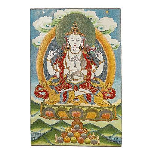 Prime Feng Shui Seiden-Stickerei Tibetische Thangka mit grünem Tara/Kashgari Buddha/Vier Armen Kwan Yin Avalokitesvara Wandbehang für Heimdekor, Thangka Meditation Kt037