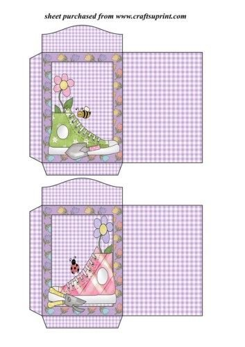 Feuille A4 pour confection de carte de vœux - Floral Sneakers seed packet 3 par Sharon Poore