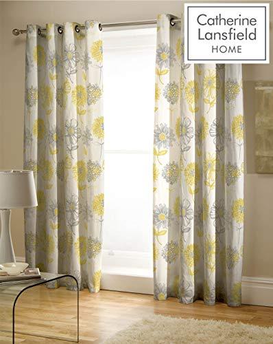 Cortinas amarillas y grises con flores 167x172 cm