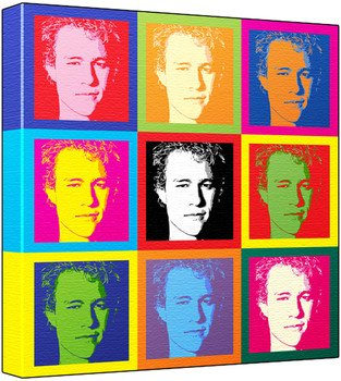 Heath Ledger - Pop Art Print (3-Tone; Andy Warhol's Che Guevara Style) 50 x 50 x 2 cm Large Square Deep Box Canvas