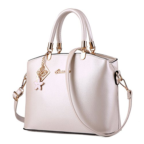 Wewod Damen Einfarbige Handtasche Lässig Abendtaschen Clutch PU Leder Umhängetasche Mit Hängende Ornamente (Weiß) (Handtasche Geflochten Canvas)