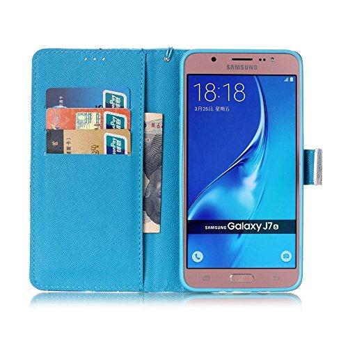 Custodia Samsung Galaxy J7 (2016), Sunroyal® Custodia in Pelle, in Piedi la Vista Diario Custodia Copertura di Vibrazione Portafoglio Flip Cover con Chiusura Magnetica per Samsung Galaxy J7 (2016) SM- Modello 20