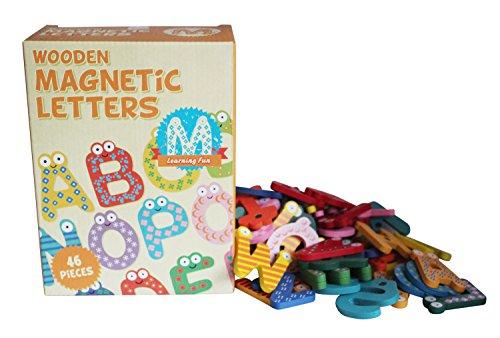 Preisvergleich Produktbild Tobar 46 Stk hölzerne Magnetbuchstaben 6cm Alphabet buntes Spielzeug Kühlschrank neues Geschenk