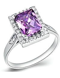 Onefeart Blanco Oro Plateado Anillo para Niña Mujeres Anillo Púrpura Cristal Cuadrado Forma Ofertas Anillo