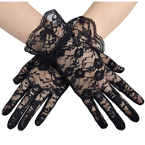 age Sheer Short Lace Gloves Derby Tea Party Wrist Length Floral Gloves for Dinner Fancy Costume Accessories Gloves ()