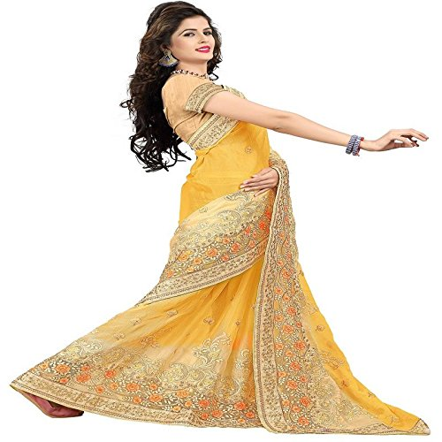 I-Brand Yellow Color Chiffon , Duster Fabric Heavy Embroidery & StoneWork Sarees