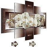 Bild 150 x 100 cm - blumen Bilder- Vlies Leinwand - Deko für Wohnzimmer -Wandbild - XXL 5 Teilig Teile - leichtes Aufhängen- 800853a
