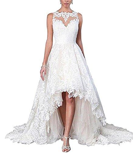 Tianshikeer Spitze A-Linie Tüll Lang Hochzeitskleid High Low Brautkleider (Weißes Low Brautkleid High)