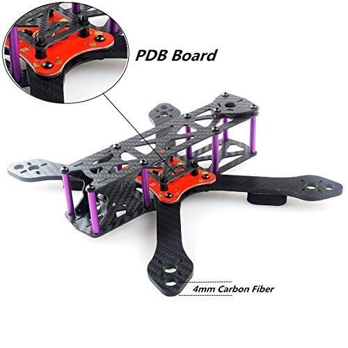 DroneAcc Quadcopter Kit telaio 220 con PDB, robusto e leggero X Design Drone Telaio con braccio 4MM, Martain II RX220 Fibra di carbonio FPV Racing Quad Frame