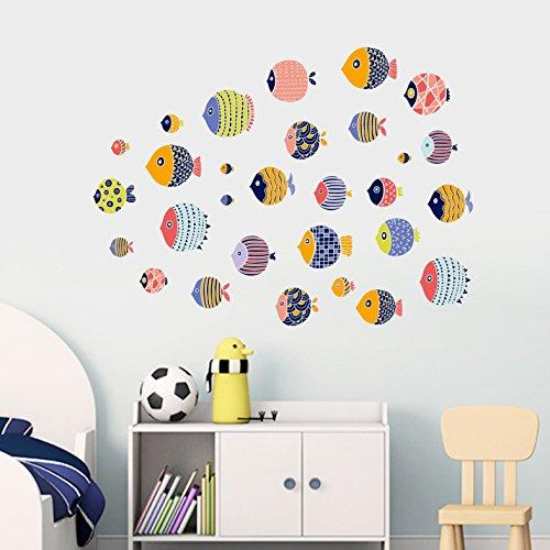 Cartoon Meerestier Aufkleber Wand Paste Kinderzimmer Nachtwand Dekoriert Kleiderschrank Fliesen Aufkleber Kleine Fische 80 X 110 cm -