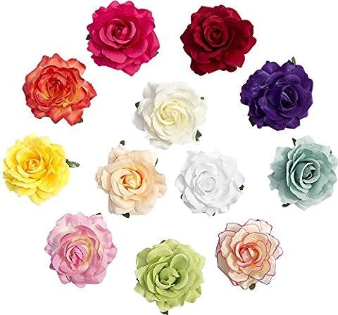 Blumen-Haarklemmen, Rosen auf Krokodilklemmen, Echtstoff, 10cm, 12Stück
