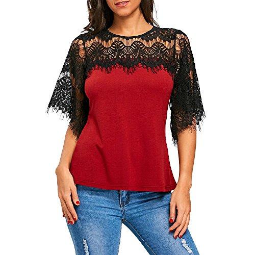 Haut à Manches Courtes en Dentelle,Kinlene Mode FéMinine AjouréE éVider Crochet Dentelle T-Shirt à Manches Courtes Tops Blouse