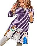 bobo4818 Toddler Baby Kid Girl Floral Pattern Dress Outfit Clothes Kleid Langarm MäDchen (Violet, Size:7T)
