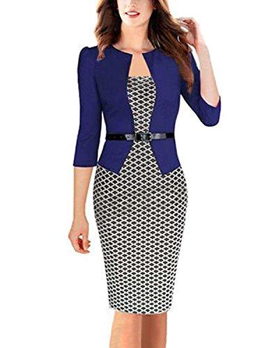 Modetrend donna vestiti manica a 3/4 elegante stampato floreale abito con cintura giuntura pannello esterno dell'anca pacchetto abiti vestito da matrimonio sera (xl, blu 2)