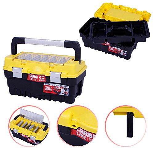Werkzeugkasten 46cm gelb Werkzeugkiste Werkzeugkoffer Sortimentskasten Angelkiste Angelkoffer Kunststoff Anglerkoffer Sortierkasten Fachkasten