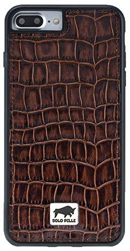 "Solo Pelle Iphone 7 Plus / 8 Plus Plus Case Lederhülle Ledertasche Backcover "" Flex "" aus echtem Leder in Vintage Braun Kroko-Braun"
