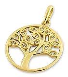 Anhänger 585er Gold Zirkonia Baum des Lebens Lebensbaum Amulett