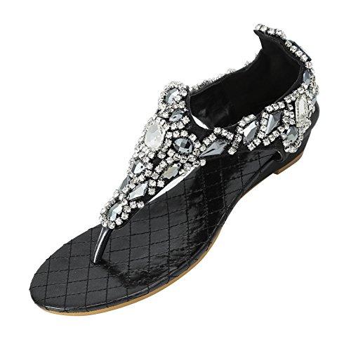 Zicac Damen Sandalen Keilabsatz Klippzehe Flip-Flops Sommer Schuhe Schwarz
