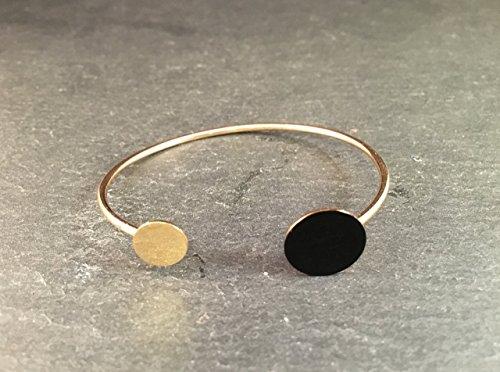Armreif Gold Schwarz - Goldfarbenes elegantes Armband