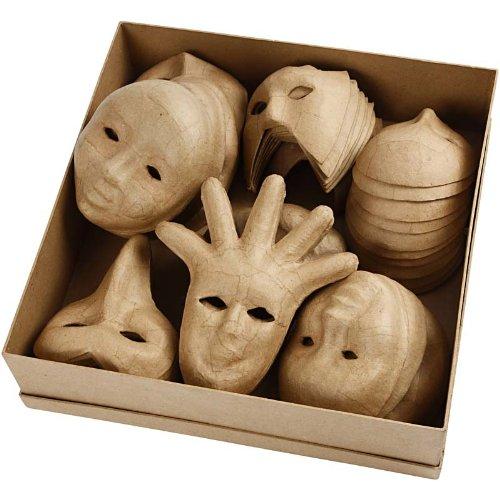 e Maske aus Pappmaschee, Bulkware, 6 Designs, 60 Stück (Bulk Venezianische Masken)