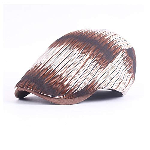 AM-women's hat Mode Hipster Baskenmütze Mütze Frühling Herbst Baumwolle Einfache Flache Mütze Treiber Retro Gestreiften Farbstreifen Vorwärtskappe Komfort (Farbe : Kaffee, Größe : 56-58CM)