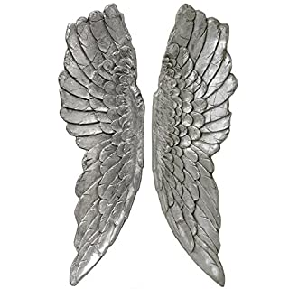 Interior Flair Large Antique Silver Angel Wings Wall Hanging Art Decoration Ornament