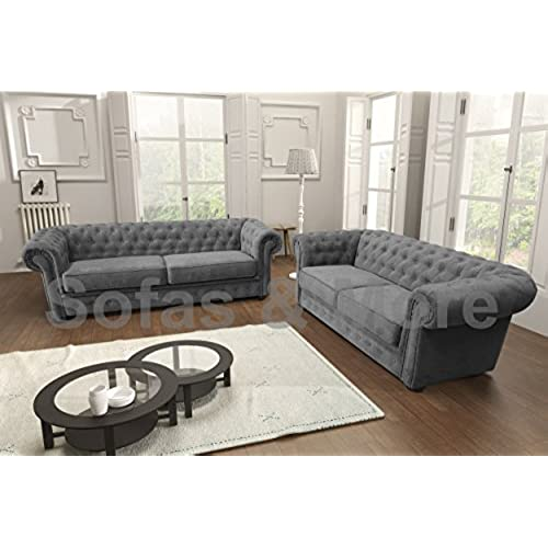 Beautiful Chesterfield Style Corner Sofa Set 3+2 Seater Armchair Grey Fabric (3+2  Seater)