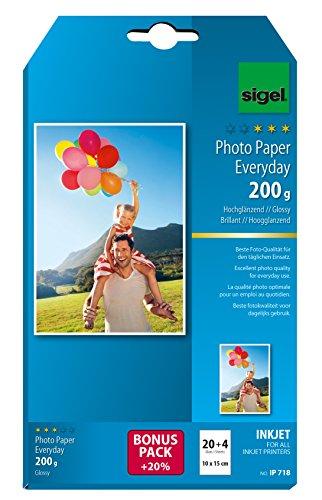 Preisvergleich Produktbild Sigel IP718 InkJet Fotopapier 10x15 cm, 20 + 4 Blatt gratis, hochglänzend, weiß, 200 g