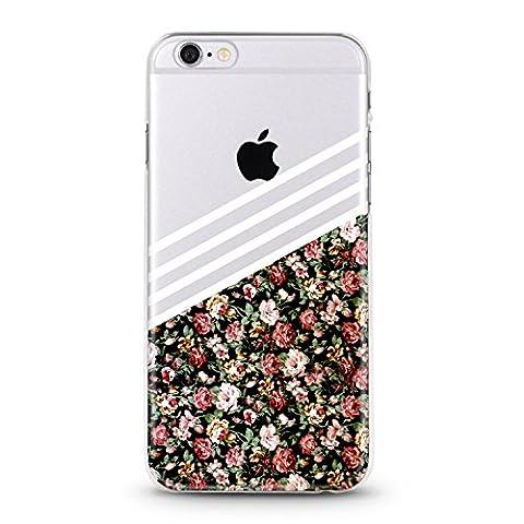 Coque transparente iphone 5 5s SE fleur liberty noir rose or silicone gel
