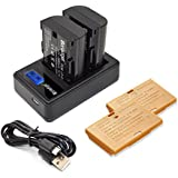 Bonadget LP-E6 LP-E6N Battery And Charger With LCD Display For Canon EOS 70D 80D 60D 60Da