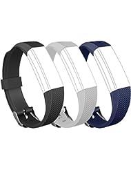 Greatfine Fitbit Alta Pulsera Repuestos Brazalete de Silicona Pulseras Rastreador de Actividad Inalámbrico Accesorios Correa de Muñeca con Seguridad Hebilla de Reloj para Fitbit Alta / Fitbit Alta HR Band (BlackGreyBlue)