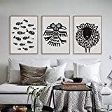 ZSHSCL Leinwanddruck Malerei 3 Stück Schwarzweiß Kunst Fisch Schafe Tiere Muster Phrase Leinwand Malerei Kunstdruck Poster A4 Bild Home Decoration, 30X40 cm