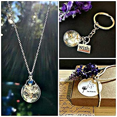 Coffret cadeau de noel Coffret cadeau pissenlit Collier assorti et porte-clés - Chaîne en argent sterling et boîte-cadeau amitié d'anniversaire ou cadeau de sympathie