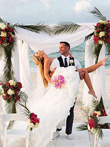 YASIOU Hochzeitskleid Elegant Damen Lang Weiß A Linie Hinten Lang Vorne Kurz Hochzeitskleider Brautkleid Große Größen mit Schleppe - 3