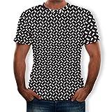 Tyoby Herren T-Shirt Drucken T-Shirt 3D Sommer Mode Slim Fit Kurzärmliges Oberteil Lässiges T-Shirt (WeißA,M)
