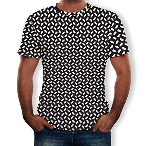 Tyoby Herren T-Shirt Drucken T-Shirt 3D Sommer Mode Slim Fit Kurzärmliges Oberteil Lässiges T-Shirt (WeißA,XXXL)