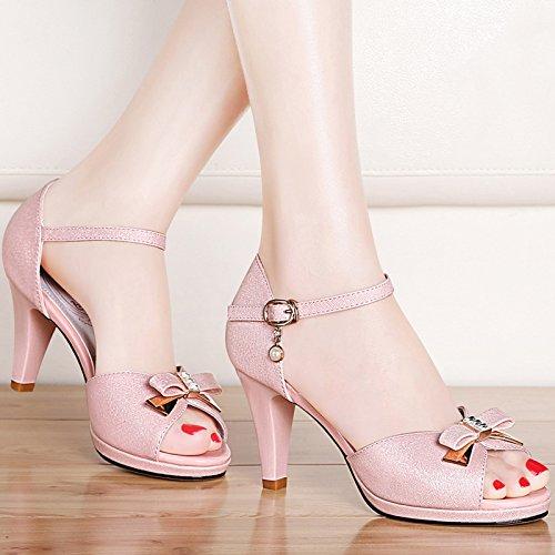 XY&GKSandalen Sommer Ferse Ferse Ferse Leder Sandalen, komfortabel und schön 36 Pink